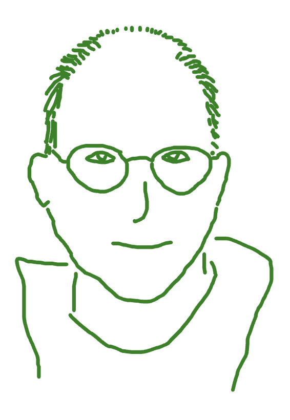 Whiteboard drawing of Peter Shirley